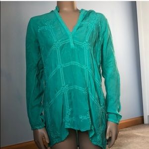 Johnny Was Teal Embroidered Floral Tunic Boho Top